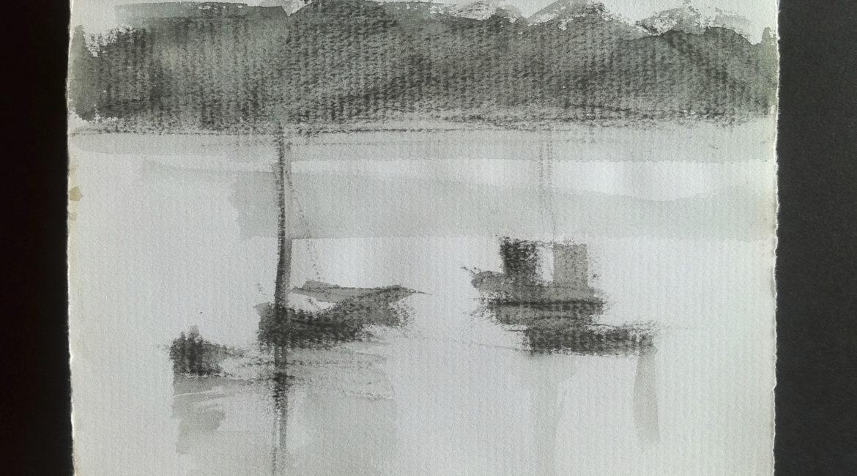 Coria Del Río. Dibujo al natural. Carboncillo s/ papel. Lola Montero.
